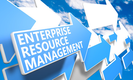 Enterprise Resource Management  3d render concept with blue and white arrows flying in a blue sky with clouds