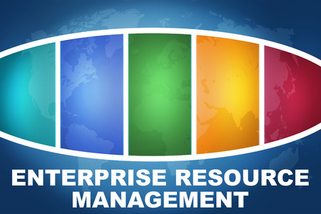 Enterprise Resource Management text illustration concept on blue background with colorful world map Stock Photo