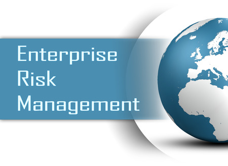 erm: Enterprise Risk Management  concept with globe on white background Stock Photo
