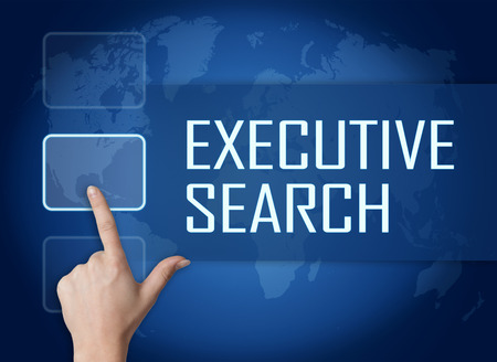 Executive Search concept with interface and world map on blue background photo