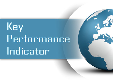 Key Performance Indicator concept with globe on white background photo