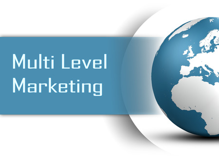 mlm: Multi Level Marketing concept with globe on white background