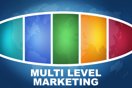 multi level: Multi Level Marketing text illustration concept on blue background with colorful world map