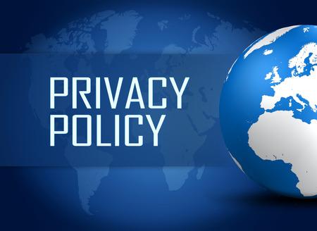 青い世界地図背景に地球とプライバシー ポリシーの概念 写真素材
