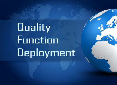 Quality Function Deployment concept with globe on blue world map background photo
