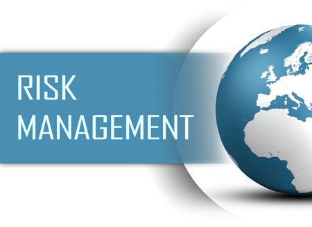 白い背景の上の地球とリスク管理の概念 写真素材