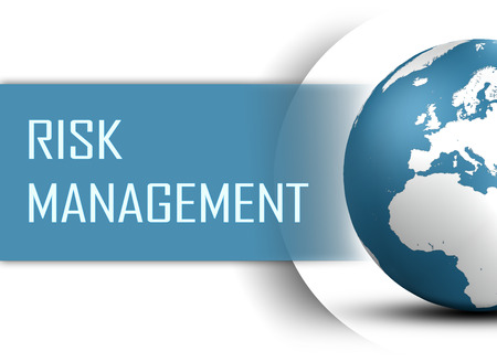 risks button: Risk Management concept with globe on white background