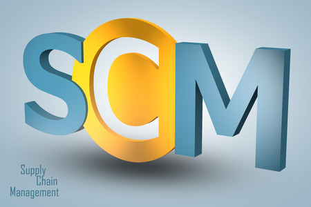 Supply Chain Management - acronym 3d render illustration concept illustration