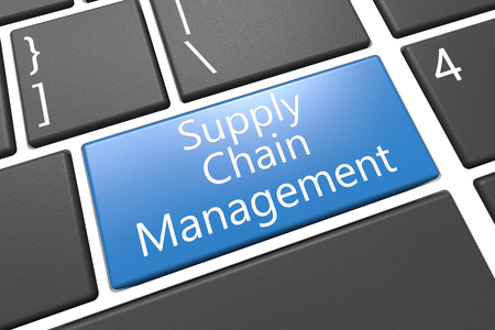 Supply Chain Management - keyboard 3d render illustration with word on blue key illustration