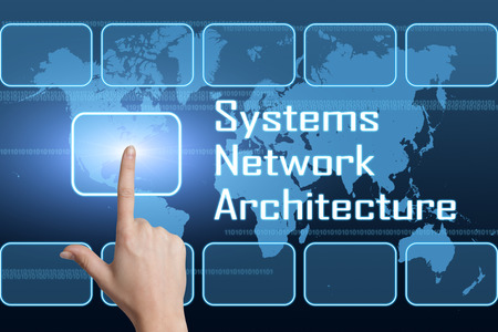 migrating: Systems Network Architecture concept with interface and world map on blue background