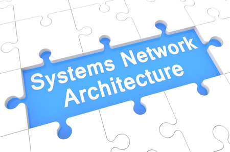 Systems Network Architecture - puzzle 3d render illustration with word on blue background illustration