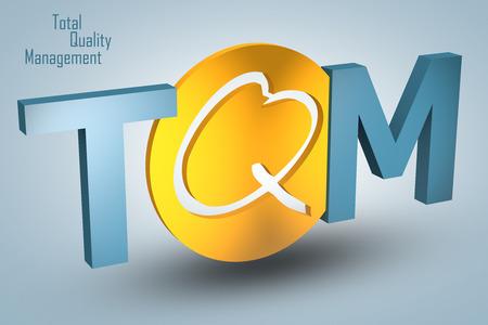 Total Quality Management - acronym 3d render illustration concept
