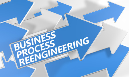 bpm: Business Process Reengineering 3d render concept with blue and white arrows flying over a white background.