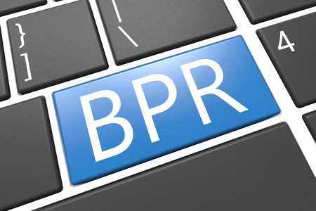 business process reengineering: Business Process Reengineering - keyboard 3d render illustration with word on blue key