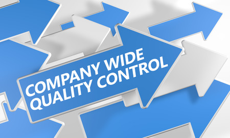 product design specification: Company Wide Quality Control 3d render concept with blue and white arrows flying over a white background. Stock Photo