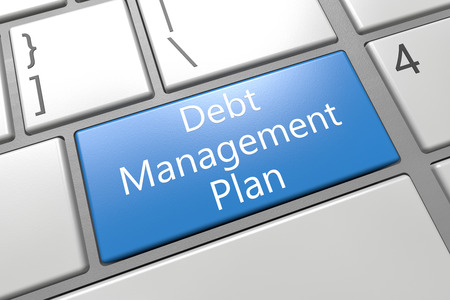 debt management: Debt Management Plan - keyboard 3d render illustration with word on blue key