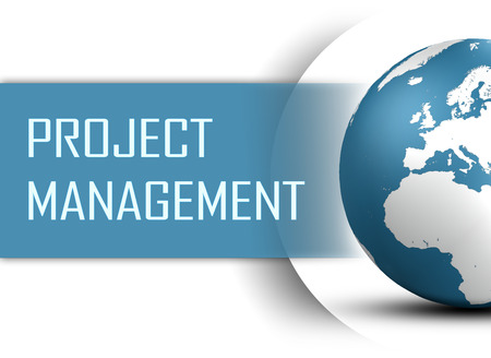 Project Management concept with globe on white background photo