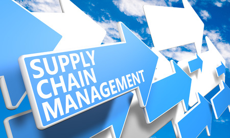 Supply Chain Management 3d render concept with blue and white arrows flying in a blue sky with clouds photo