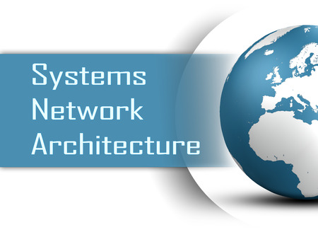 Systems Network Architecture concept with globe on white background photo