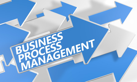 bpm: Business Process Management 3d render concept with blue and white arrows flying over a white background.