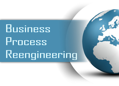 business process reengineering: Business Process Reengineering concept with globe on white background