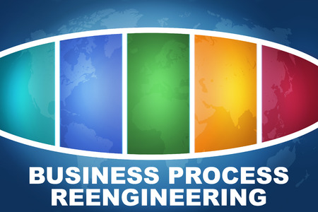 business process reengineering: Business Process Reengineering text illustration concept on blue background with colorful world map