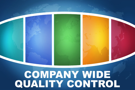 product design specification: Company Wide Quality Control text illustration concept on blue background with colorful world map Stock Photo