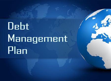 debt management: Debt Management Plan concept with globe on blue world map background Stock Photo