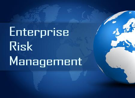 Enterprise Risk Management  concept with globe on blue world map background