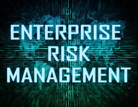 erm: Enterprise Risk Management  text concept on green digital world map background  Stock Photo
