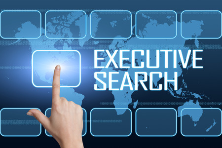 find: Executive Search concept with interface and world map on blue background