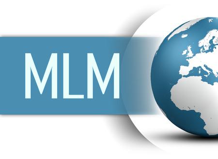 multi level: Multi Level Marketing concept with globe on white background
