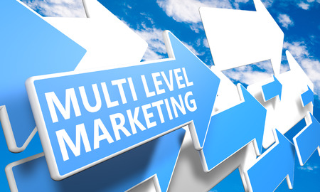 multi level: Multi Level Marketing 3d render concept with blue and white arrows flying in a blue sky with clouds