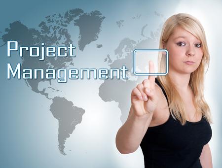 Young woman press digital Project Management button on interface in front of her photo