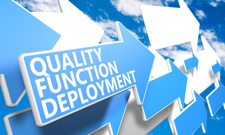 deployment: Quality Function Deployment 3d render concept with blue and white arrows flying in a blue sky with clouds Stock Photo