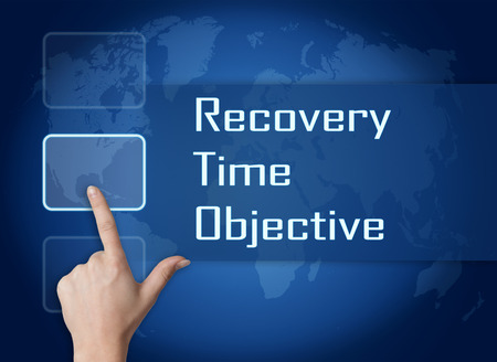 time critical: Recovery Time Objective concept with interface and world map on blue background