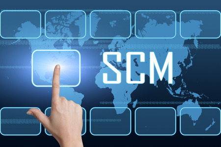 Supply Chain Management concept with interface and world map on blue background Stock Photo