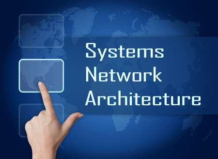 Systems Network Architecture concept with interface and world map on blue background photo