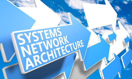 Systems Network Architecture 3d render concept with blue and white arrows flying in a blue sky with clouds photo