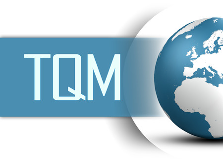 Total Quality Management concept with globe on white background photo