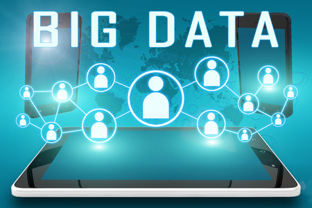 large: Big Data - text illustration with social icons and tablet computer and mobile cellphones on cyan digital world map background Stock Photo