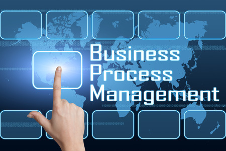 Business Process Management concept with interface and world map on blue background Stock Photo