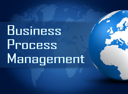 bpm: Business Process Management concept with globe on blue world map background Stock Photo
