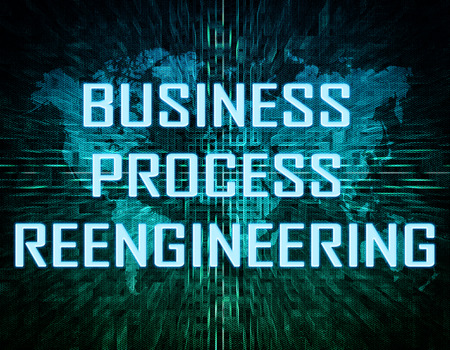 redesign: Business Process Reengineering text concept on green digital world map background  Stock Photo