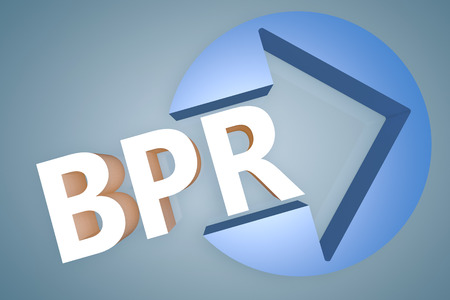 bpr: Business Process Reengineering - acronym 3d render illustration concept with a arrow in a circle on blue-grey background Stock Photo