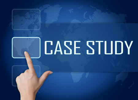 Case Study concept with interface and world map on blue background