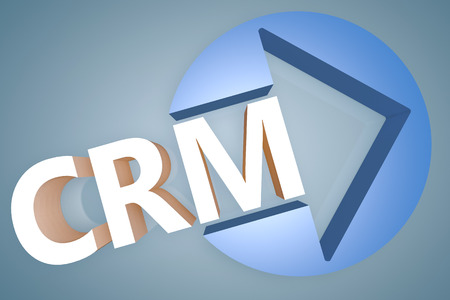 Customer Relationship Management - acronym 3d render illustration concept with a arrow in a circle on blue-grey background illustration