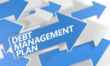 debt management: Debt Management Plan 3d render concept with blue and white arrows flying over a white background.