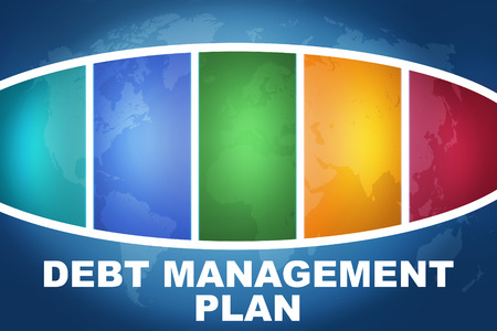 debt management: Debt Management Plan text illustration concept on blue background with colorful world map Stock Photo