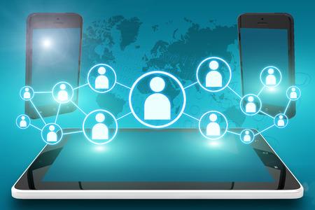 사회적 아이콘 및 태블릿 컴퓨터와 시안 색 디지털 세계지도 배경에 모바일 휴대폰 전자 장치 그림